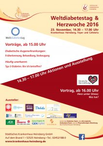 Plakat zum Weltdiabetestag und zur Herzwoche 2016