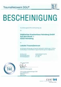 Zertifikat TraumaNetzwerk DGU